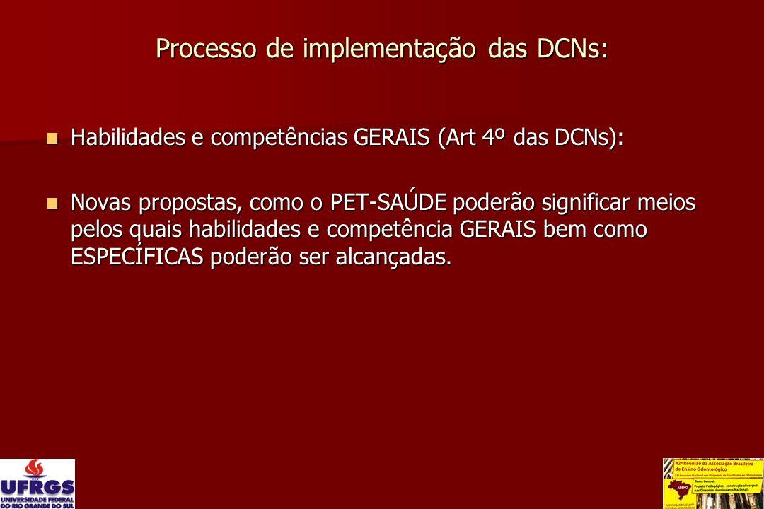 Processo de implementação das DCNs: Habilidades e competências GERAIS (Art 4º das DCNs): Habilidades e competências GERAIS (Art 4º das DCNs): Novas pr