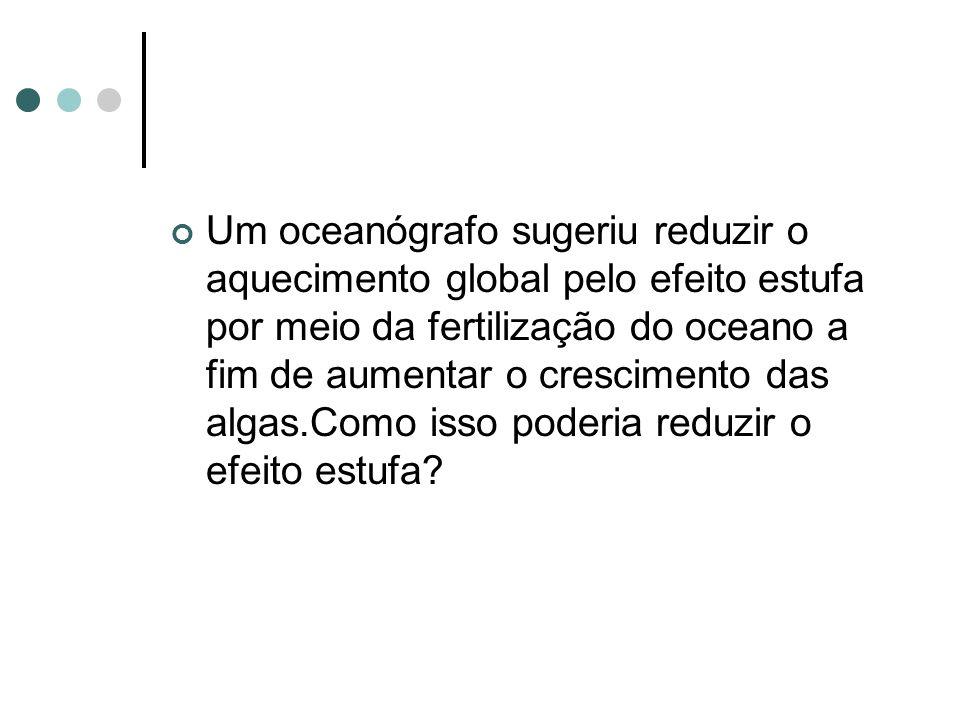 Um oceanógrafo sugeriu reduzir o aquecimento global pelo efeito estufa por meio da fertilização do oceano a fim de aumentar o crescimento das algas.Como isso poderia reduzir o efeito estufa?