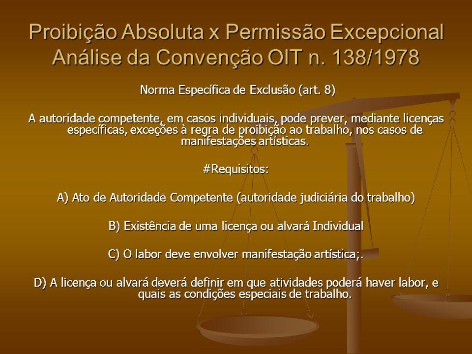 Proibição Absoluta x Permissão Excepcional Análise da Convenção OIT n. 138/1978 Norma Específica de Exclusão (art. 8) Norma Específica de Exclusão (ar