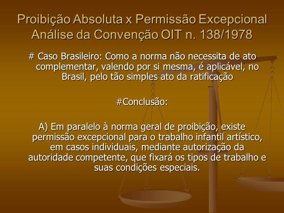 Proibição Absoluta x Permissão Excepcional Análise da Convenção OIT n. 138/1978 # Caso Brasileiro: Como a norma não necessita de ato complementar, val