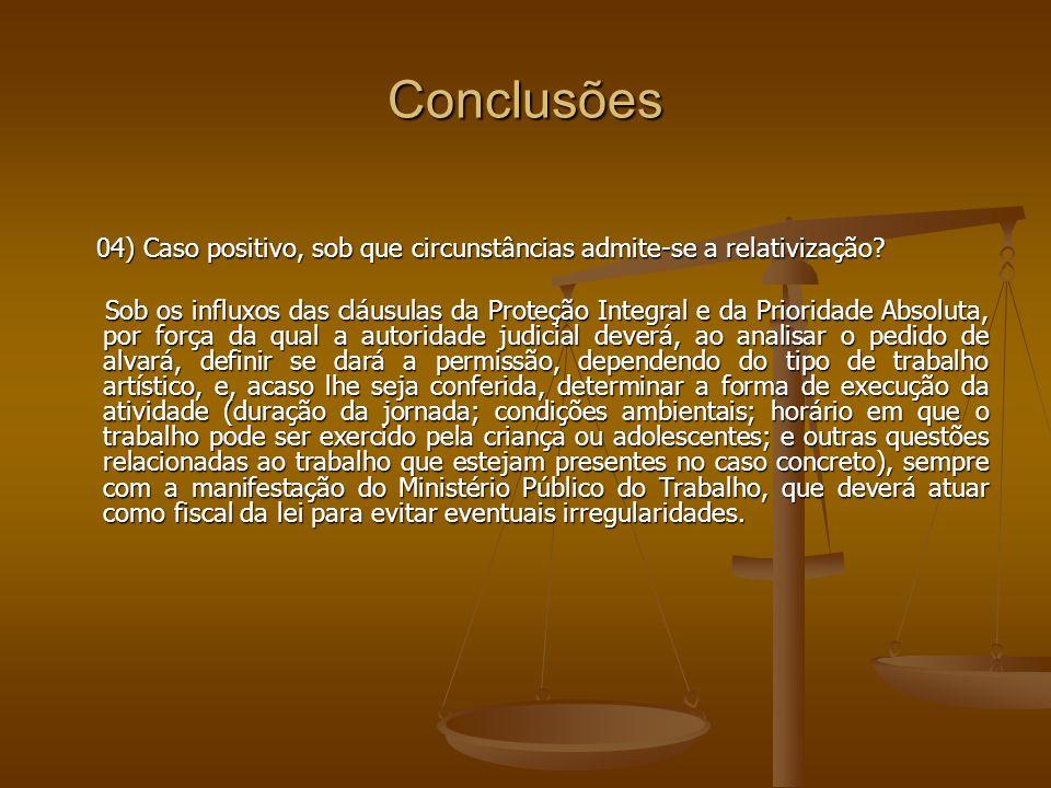 Conclusões 04) Caso positivo, sob que circunstâncias admite-se a relativização? 04) Caso positivo, sob que circunstâncias admite-se a relativização? S