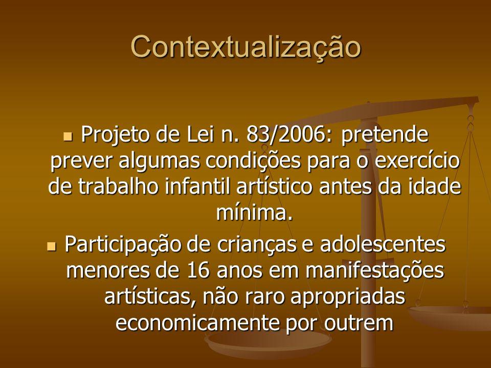 Contextualização Projeto de Lei n. 83/2006: pretende prever algumas condições para o exercício de trabalho infantil artístico antes da idade mínima. P