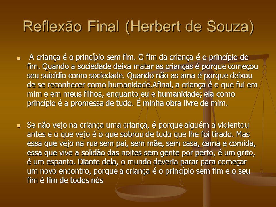Reflexão Final (Herbert de Souza) A criança é o princípio sem fim. O fim da criança é o princípio do fim. Quando a sociedade deixa matar as crianças é