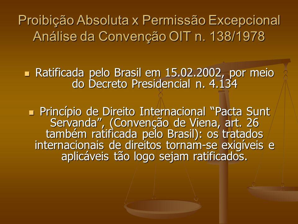 Proibição Absoluta x Permissão Excepcional Análise da Convenção OIT n. 138/1978 Ratificada pelo Brasil em 15.02.2002, por meio do Decreto Presidencial