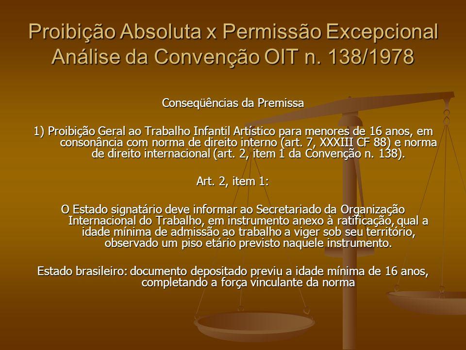 Proibição Absoluta x Permissão Excepcional Análise da Convenção OIT n. 138/1978 Conseqüências da Premissa 1) Proibição Geral ao Trabalho Infantil Artí