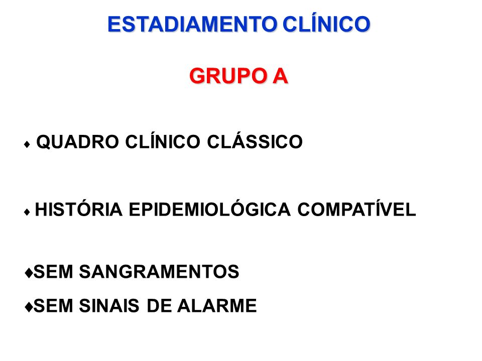 ESTADIAMENTO CLÍNICO GRUPO A QUADRO CLÍNICO CLÁSSICO HISTÓRIA EPIDEMIOLÓGICA COMPATÍVEL SEM SANGRAMENTOS SEM SINAIS DE ALARME