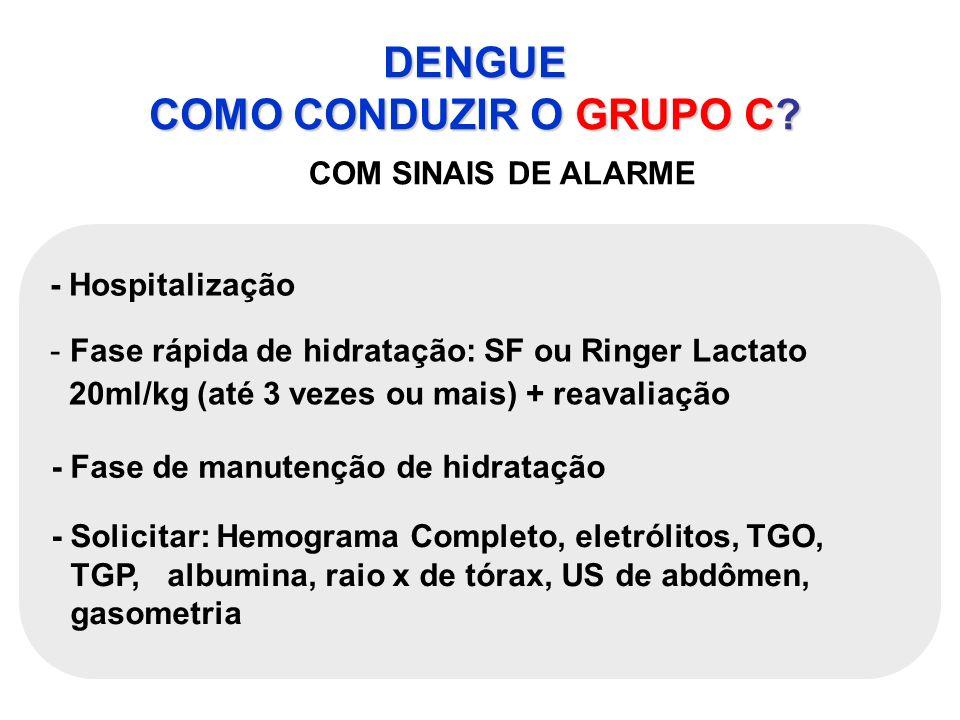 DENGUE COMO CONDUZIR O GRUPO C? COM SINAIS DE ALARME - Hospitalização - Fase rápida de hidratação: SF ou Ringer Lactato 20ml/kg (até 3 vezes ou mais)