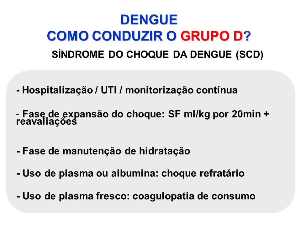 DENGUE COMO CONDUZIR O GRUPO D? SÍNDROME DO CHOQUE DA DENGUE (SCD) - Hospitalização / UTI / monitorização contínua - Fase de expansão do choque: SF ml
