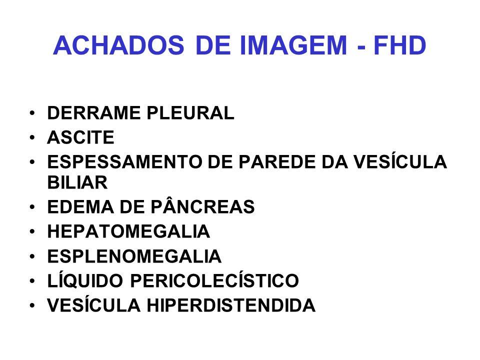 ACHADOS DE IMAGEM - FHD DERRAME PLEURAL ASCITE ESPESSAMENTO DE PAREDE DA VESÍCULA BILIAR EDEMA DE PÂNCREAS HEPATOMEGALIA ESPLENOMEGALIA LÍQUIDO PERICO
