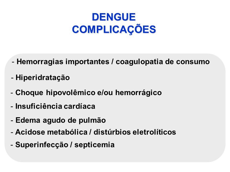 DENGUE COMPLICAÇÕES - Hemorragias importantes / coagulopatia de consumo -Hiperidratação - Choque hipovolêmico e/ou hemorrágico - Insuficiência cardíac