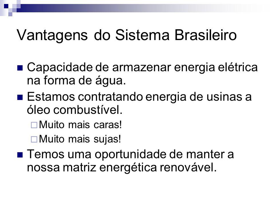 Vantagens do Sistema Brasileiro Capacidade de armazenar energia elétrica na forma de água. Estamos contratando energia de usinas a óleo combustível. M