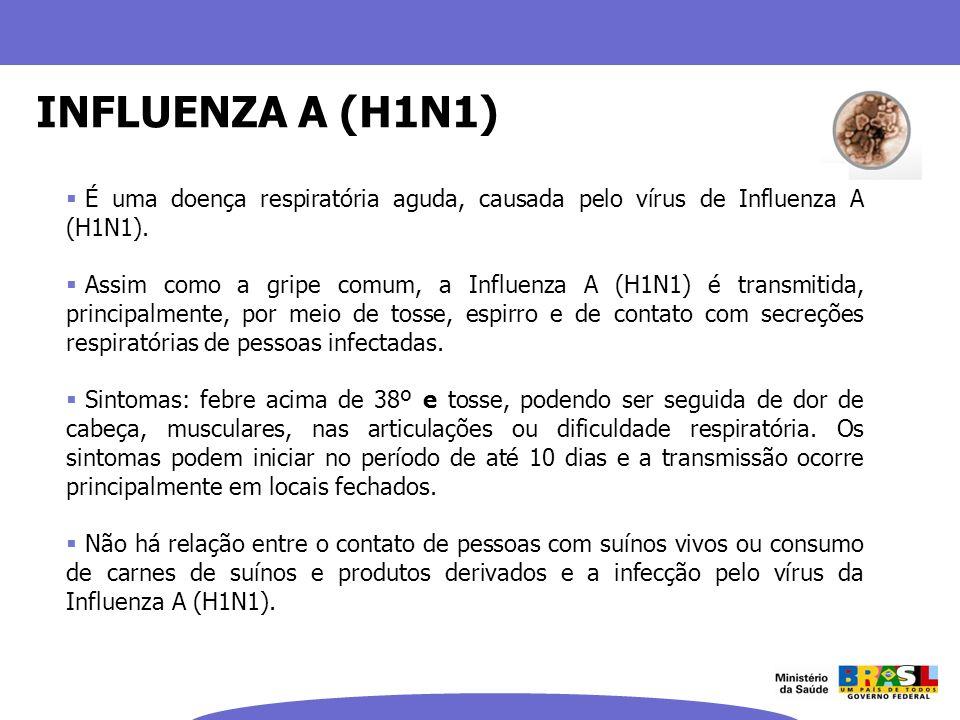 INFLUENZA A (H1N1) É uma doença respiratória aguda, causada pelo vírus de Influenza A (H1N1). Assim como a gripe comum, a Influenza A (H1N1) é transmi