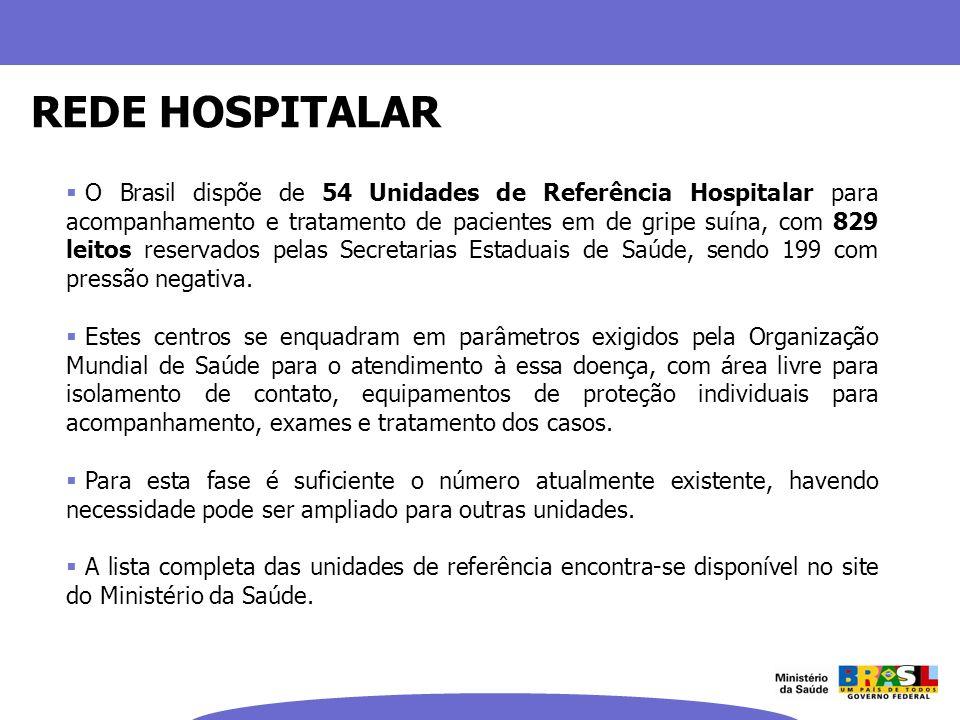 O Brasil dispõe de 54 Unidades de Referência Hospitalar para acompanhamento e tratamento de pacientes em de gripe suína, com 829 leitos reservados pel