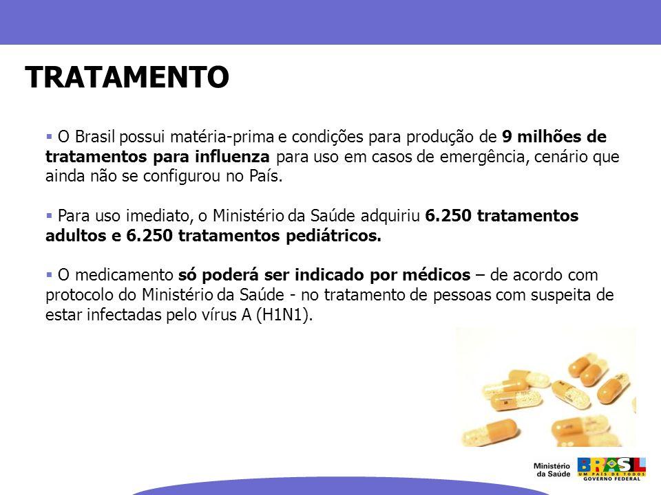 TRATAMENTO O Brasil possui matéria-prima e condições para produção de 9 milhões de tratamentos para influenza para uso em casos de emergência, cenário