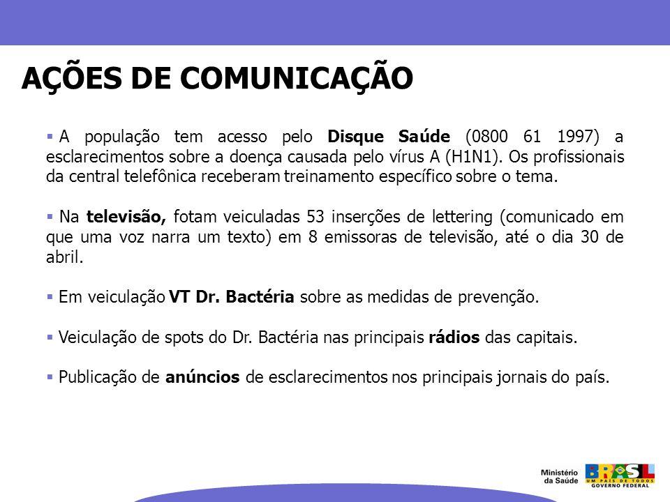 A população tem acesso pelo Disque Saúde (0800 61 1997) a esclarecimentos sobre a doença causada pelo vírus A (H1N1). Os profissionais da central tele
