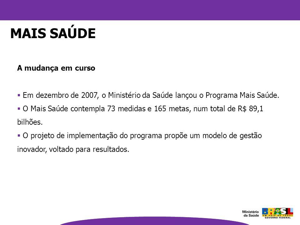 A mudança em curso Em dezembro de 2007, o Ministério da Saúde lançou o Programa Mais Saúde. O Mais Saúde contempla 73 medidas e 165 metas, num total d