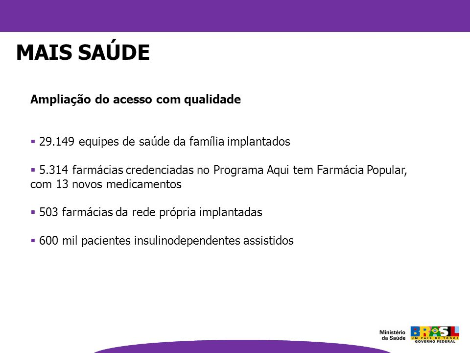 Ampliação do acesso com qualidade 29.149 equipes de saúde da família implantados 5.314 farmácias credenciadas no Programa Aqui tem Farmácia Popular, c