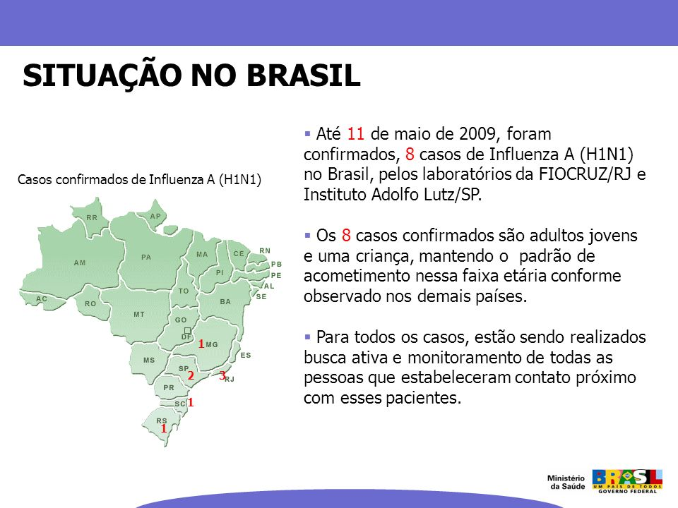 Até 11 de maio de 2009, foram confirmados, 8 casos de Influenza A (H1N1) no Brasil, pelos laboratórios da FIOCRUZ/RJ e Instituto Adolfo Lutz/SP. Os 8