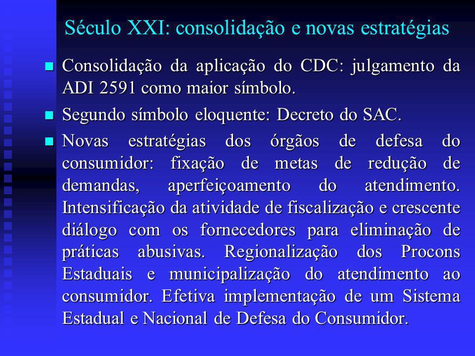 Século XXI: consolidação e novas estratégias Consolidação da aplicação do CDC: julgamento da ADI 2591 como maior símbolo.