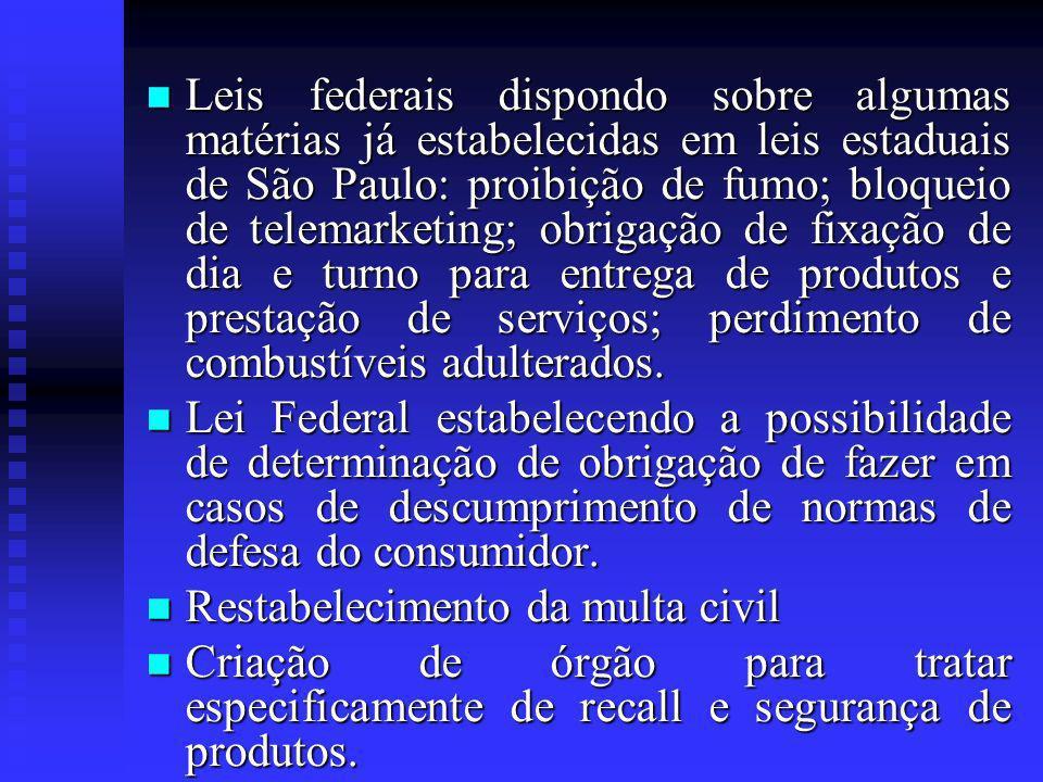 Leis federais dispondo sobre algumas matérias já estabelecidas em leis estaduais de São Paulo: proibição de fumo; bloqueio de telemarketing; obrigação de fixação de dia e turno para entrega de produtos e prestação de serviços; perdimento de combustíveis adulterados.
