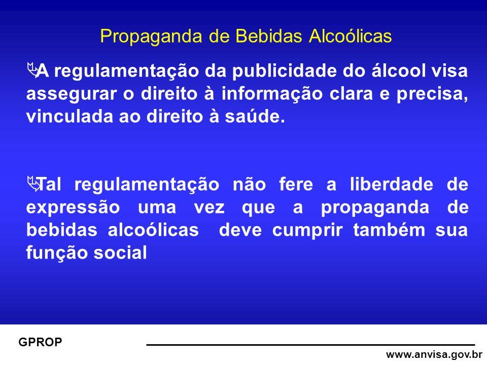 www.anvisa.gov.br GPROP Propaganda de Bebidas Alcoólicas A regulamentação da publicidade do álcool visa assegurar o direito à informação clara e precisa, vinculada ao direito à saúde.
