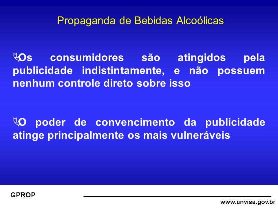 www.anvisa.gov.br GPROP Propaganda de Bebidas Alcoólicas Os consumidores são atingidos pela publicidade indistintamente, e não possuem nenhum controle direto sobre isso O poder de convencimento da publicidade atinge principalmente os mais vulneráveis