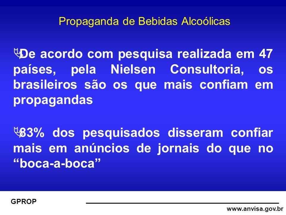 www.anvisa.gov.br GPROP Propaganda de Bebidas Alcoólicas De acordo com pesquisa realizada em 47 países, pela Nielsen Consultoria, os brasileiros são os que mais confiam em propagandas 83% dos pesquisados disseram confiar mais em anúncios de jornais do que no boca-a-boca