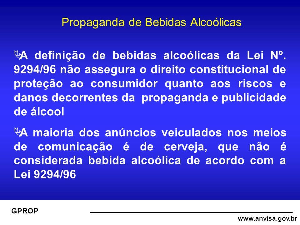 www.anvisa.gov.br GPROP Propaganda de Bebidas Alcoólicas A definição de bebidas alcoólicas da Lei Nº.