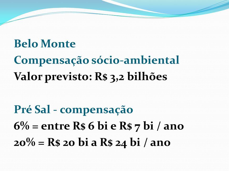 Belo Monte Compensação sócio-ambiental Valor previsto: R$ 3,2 bilhões Pré Sal - compensação 6% = entre R$ 6 bi e R$ 7 bi / ano 20% = R$ 20 bi a R$ 24