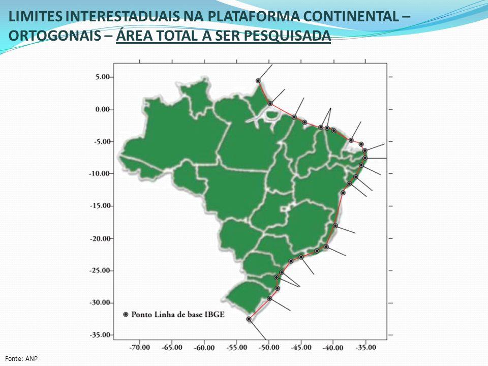 LIMITES INTERESTADUAIS NA PLATAFORMA CONTINENTAL – ORTOGONAIS – ÁREA TOTAL A SER PESQUISADA Fonte: ANP