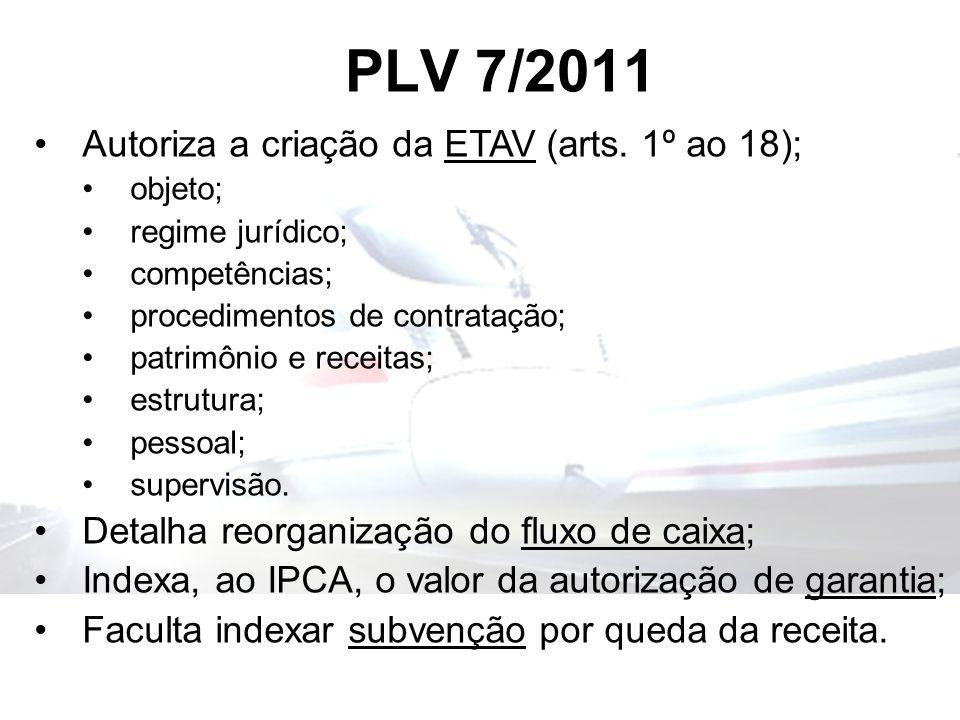 PLV 7/2011 Autoriza a criação da ETAV (arts. 1º ao 18); objeto; regime jurídico; competências; procedimentos de contratação; patrimônio e receitas; es