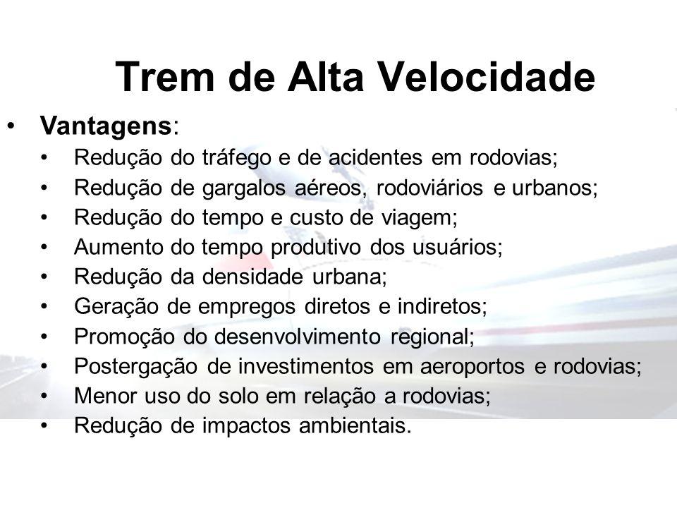 Trem de Alta Velocidade Vantagens: Redução do tráfego e de acidentes em rodovias; Redução de gargalos aéreos, rodoviários e urbanos; Redução do tempo