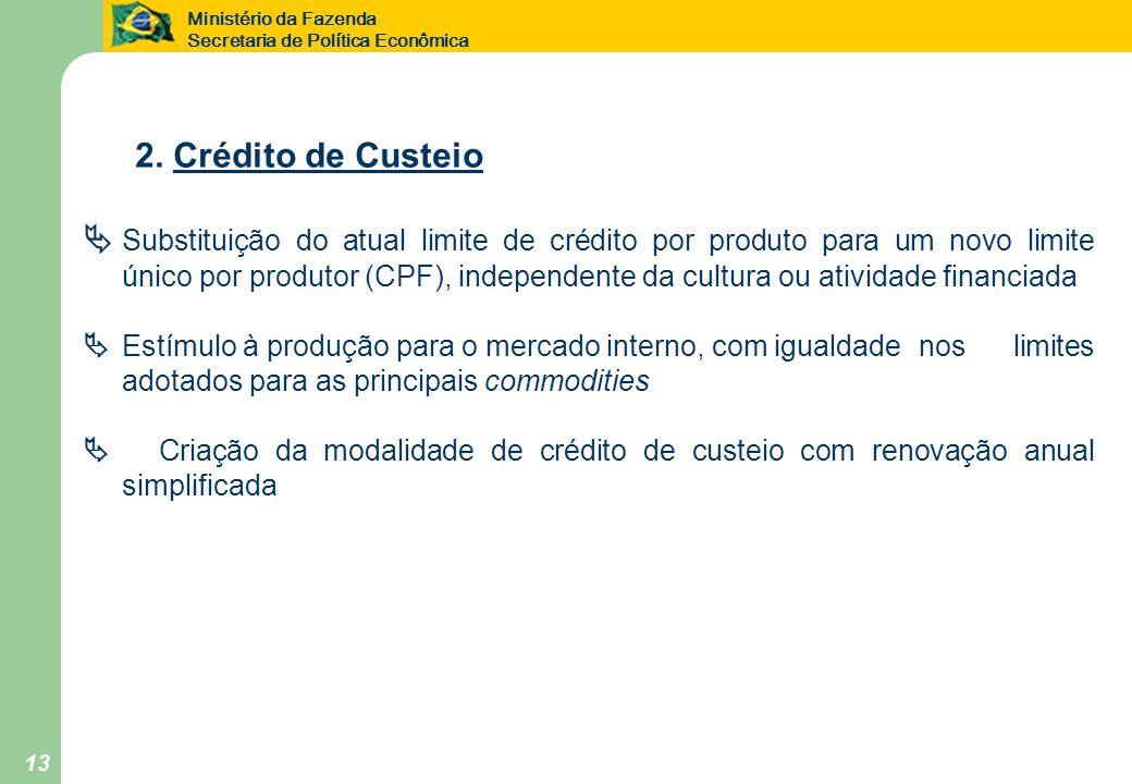 Ministério da Fazenda Secretaria de Política Econômica 13 2. Crédito de Custeio Substituição do atual limite de crédito por produto para um novo limit