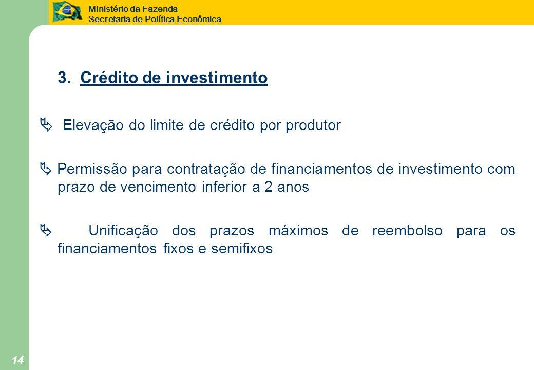 Ministério da Fazenda Secretaria de Política Econômica 14 3. Crédito de investimento Elevação do limite de crédito por produtor Permissão para contrat