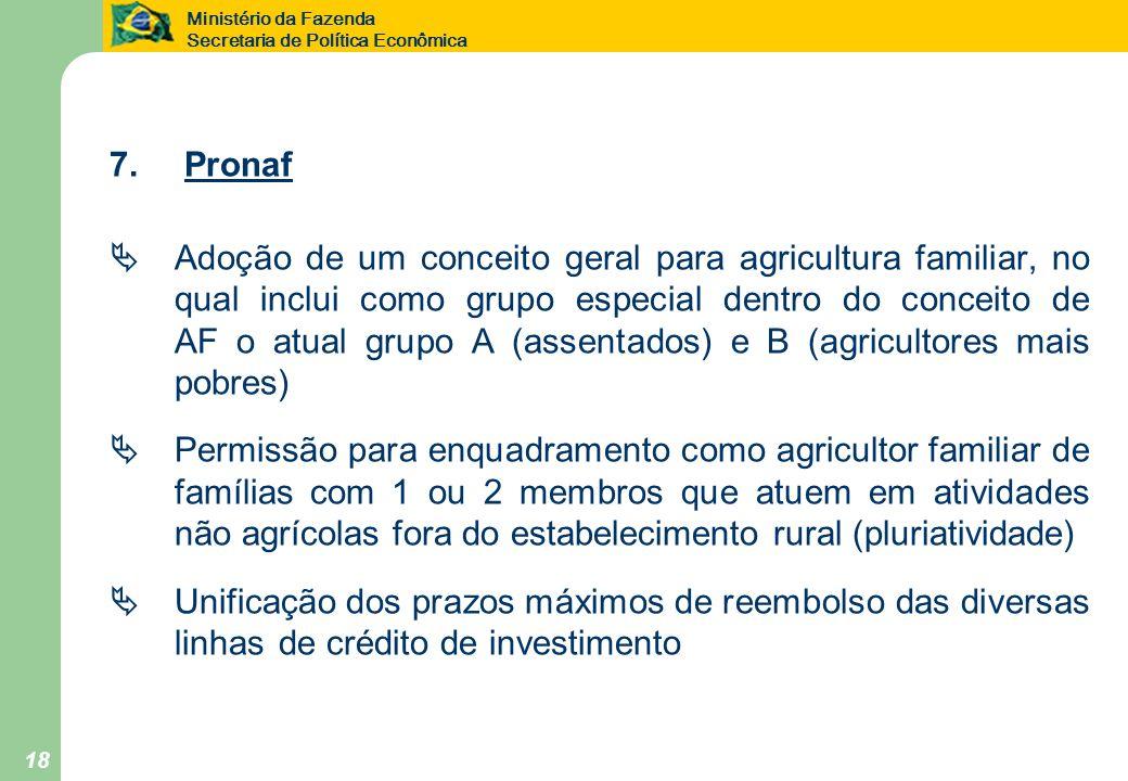 Ministério da Fazenda Secretaria de Política Econômica 18 7. Pronaf Adoção de um conceito geral para agricultura familiar, no qual inclui como grupo e