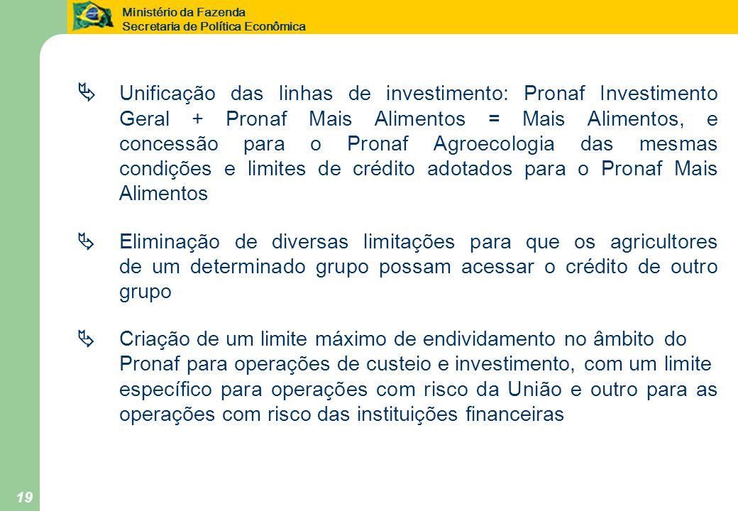 Ministério da Fazenda Secretaria de Política Econômica 19 Unificação das linhas de investimento: Pronaf Investimento Geral + Pronaf Mais Alimentos = M