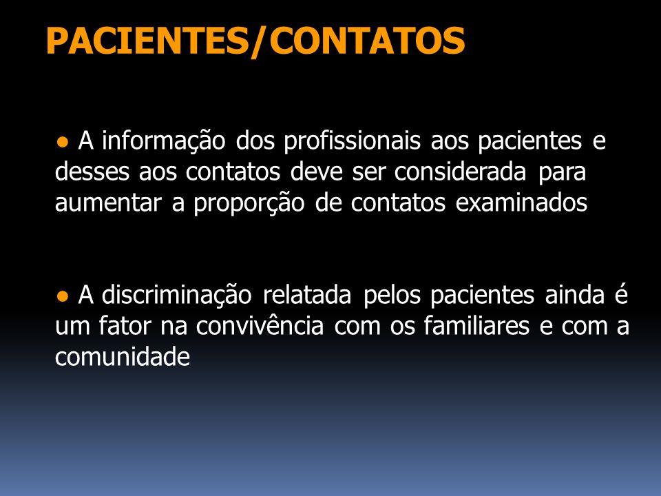 PACIENTES/CONTATOS A informação dos profissionais aos pacientes e desses aos contatos deve ser considerada para aumentar a proporção de contatos exami