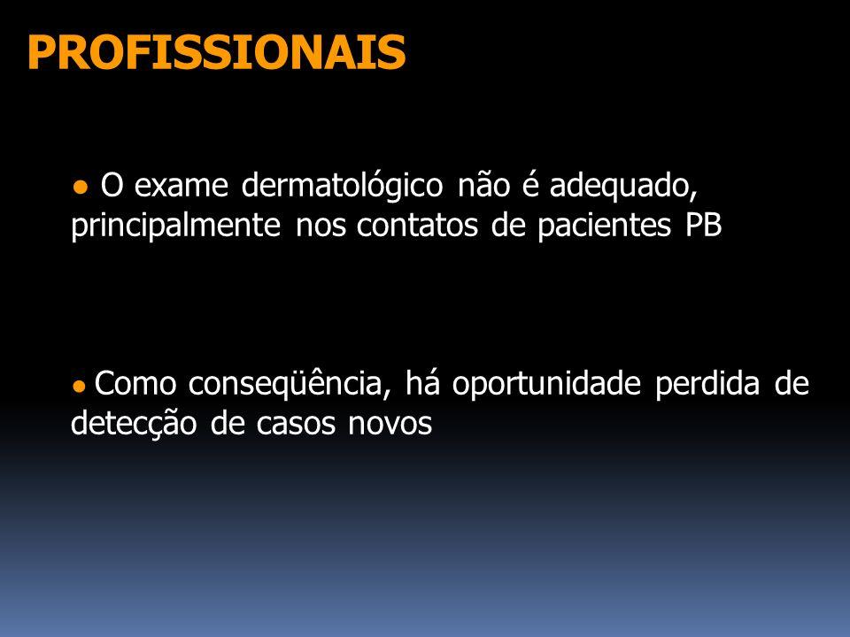 PROFISSIONAIS O exame dermatológico não é adequado, principalmente nos contatos de pacientes PB Como conseqüência, há oportunidade perdida de detecção
