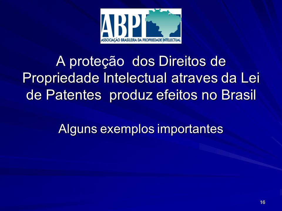 A dos Direitos de Propriedade Intelectual atraves da Lei de Patentes produz efeitos no Brasil A proteção dos Direitos de Propriedade Intelectual atraves da Lei de Patentes produz efeitos no Brasil Alguns exemplos importantes 16