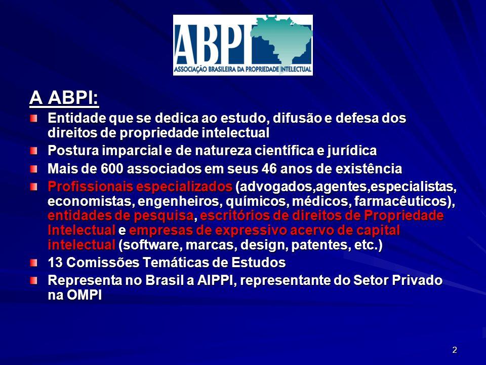 A ABPI: Entidade que se dedica ao estudo, difusão e defesa dos direitos de propriedade intelectual Postura imparcial e de natureza científica e jurídi