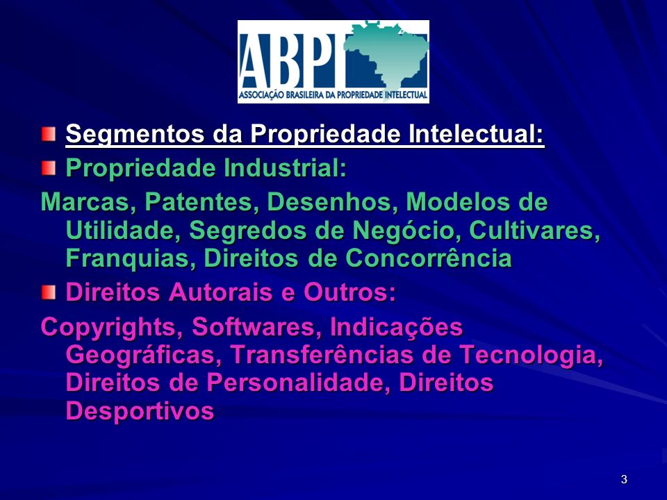 Segmentos da Propriedade Intelectual: Propriedade Industrial: Marcas, Patentes, Desenhos, Modelos de Utilidade, Segredos de Negócio, Cultivares, Franq