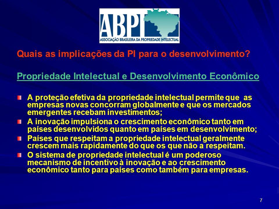 Quais as implicações da PI para o desenvolvimento? Propriedade Intelectual e Desenvolvimento Econômico A proteção efetiva da propriedade intelectual p
