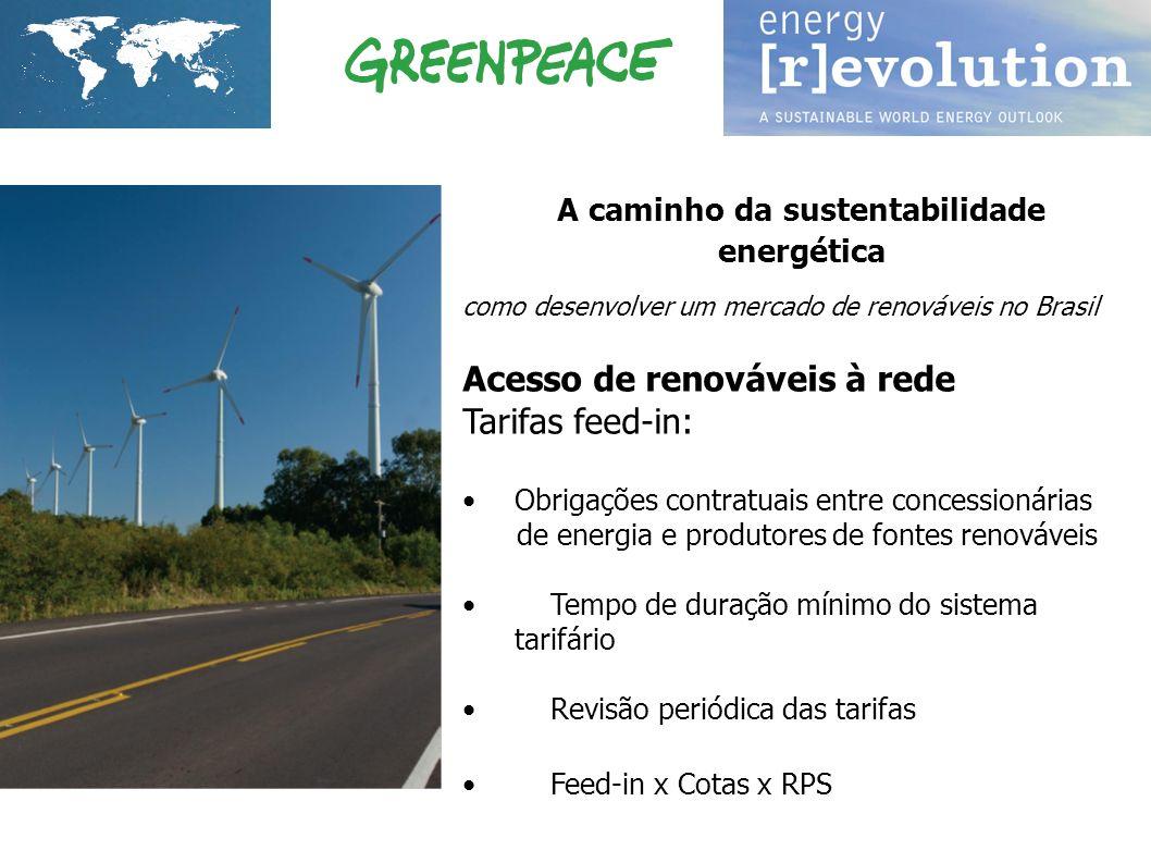 A caminho da sustentabilidade energética como desenvolver um mercado de renováveis no Brasil Acesso de renováveis à rede Tarifas feed-in: Obrigações c