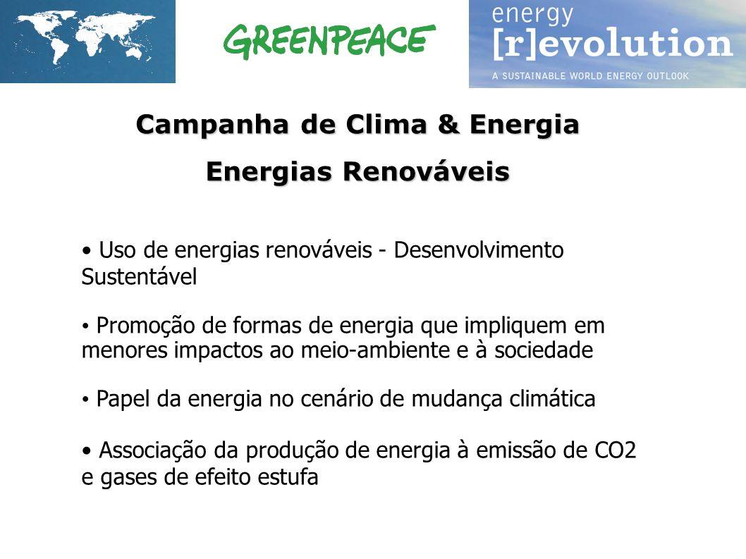 Uso de energias renováveis - Desenvolvimento Sustentável Promoção de formas de energia que impliquem em menores impactos ao meio-ambiente e à sociedad