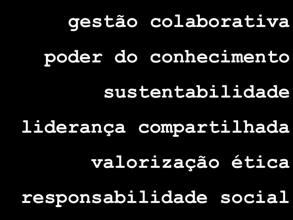 gestão colaborativa poder do conhecimento sustentabilidade liderança compartilhada valorização ética responsabilidade social