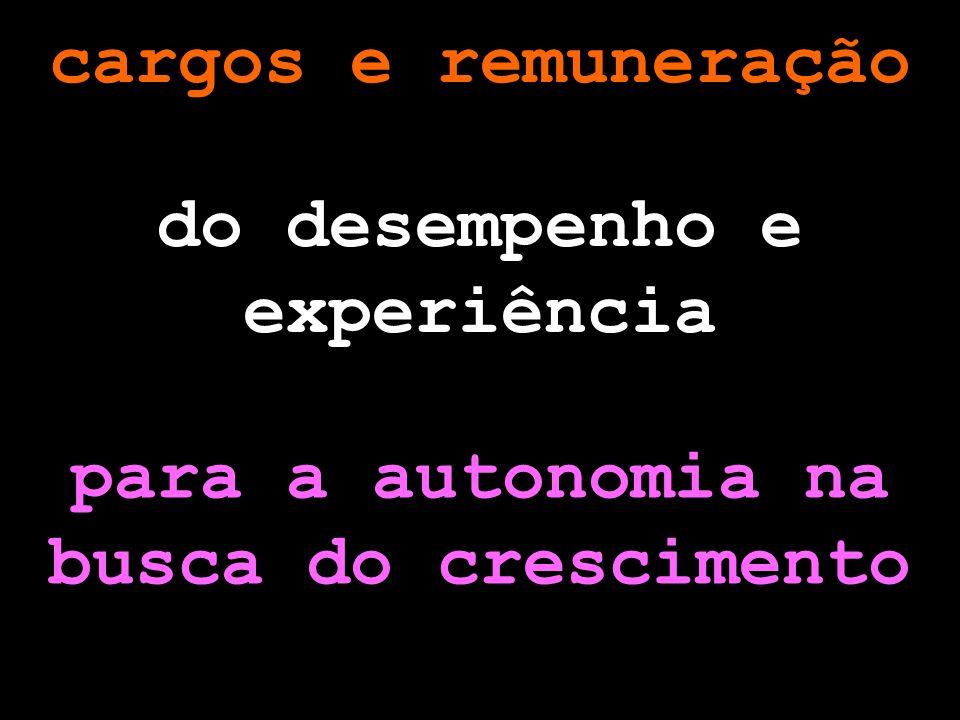 cargos e remuneração do desempenho e experiência para a autonomia na busca do crescimento