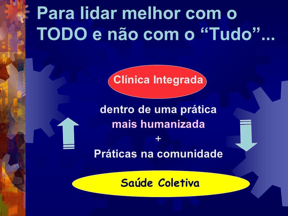 Clínica Integrada dentro de uma prática mais humanizada + Práticas na comunidade Saúde Coletiva Para lidar melhor com o TODO e não com o Tudo...