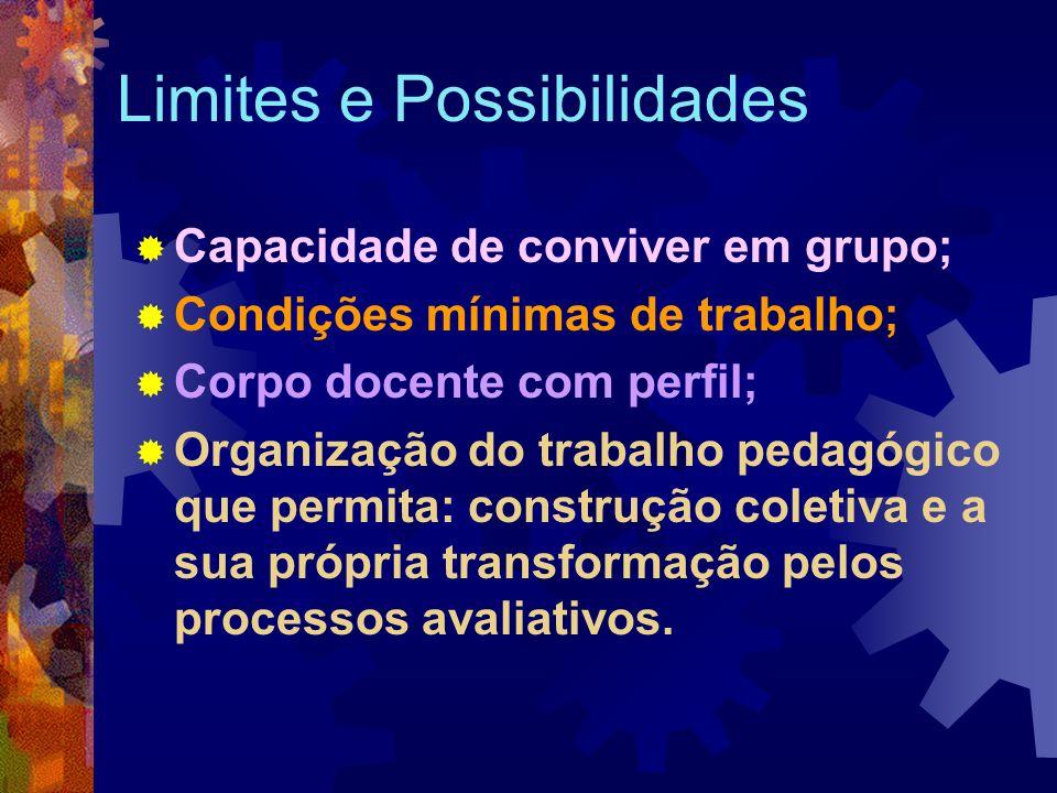 Limites e Possibilidades Capacidade de conviver em grupo; Condições mínimas de trabalho; Corpo docente com perfil; Organização do trabalho pedagógico