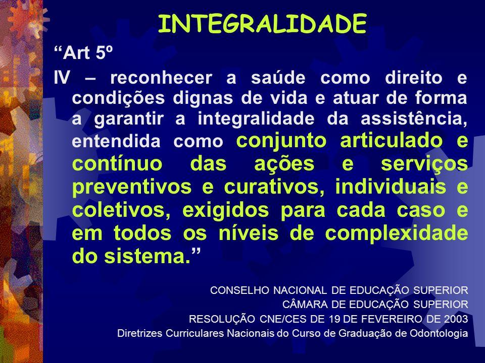 INTEGRALIDADE Art 5º IV – reconhecer a saúde como direito e condições dignas de vida e atuar de forma a garantir a integralidade da assistência, enten