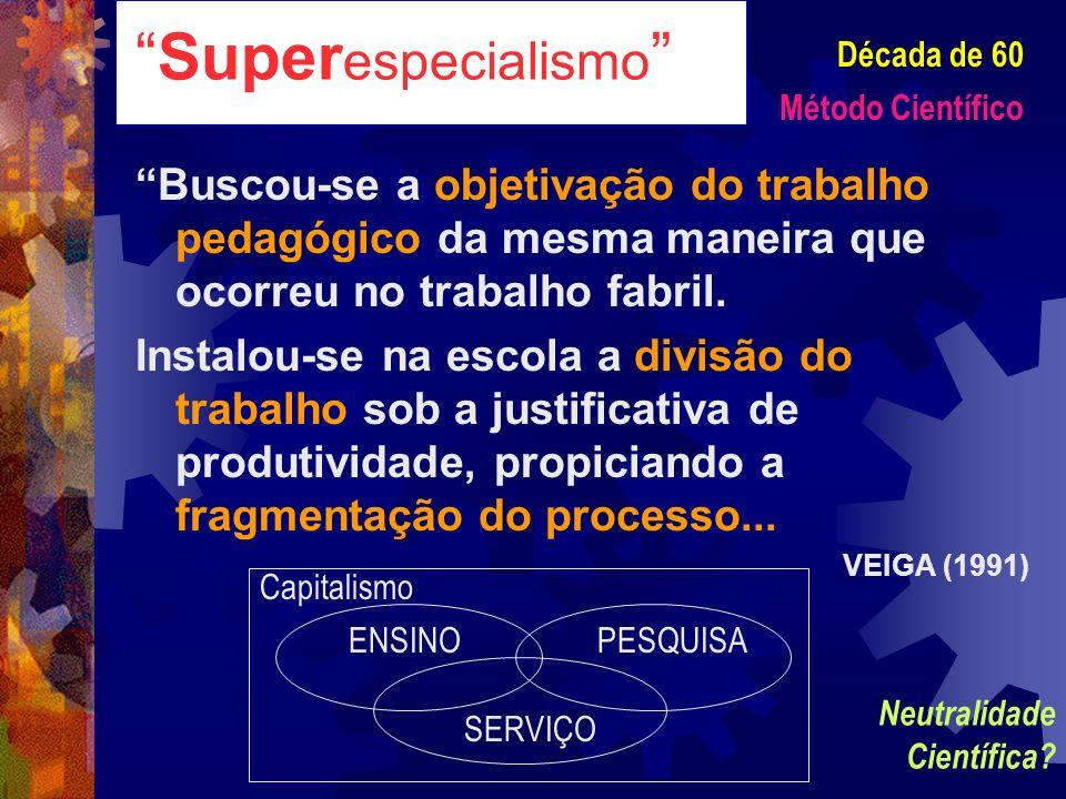 Super especialismo Buscou-se a objetivação do trabalho pedagógico da mesma maneira que ocorreu no trabalho fabril. Instalou-se na escola a divisão do